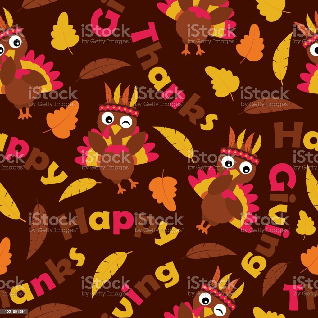 Cute Turkeys And Maple Leaves On Brown Background Vector