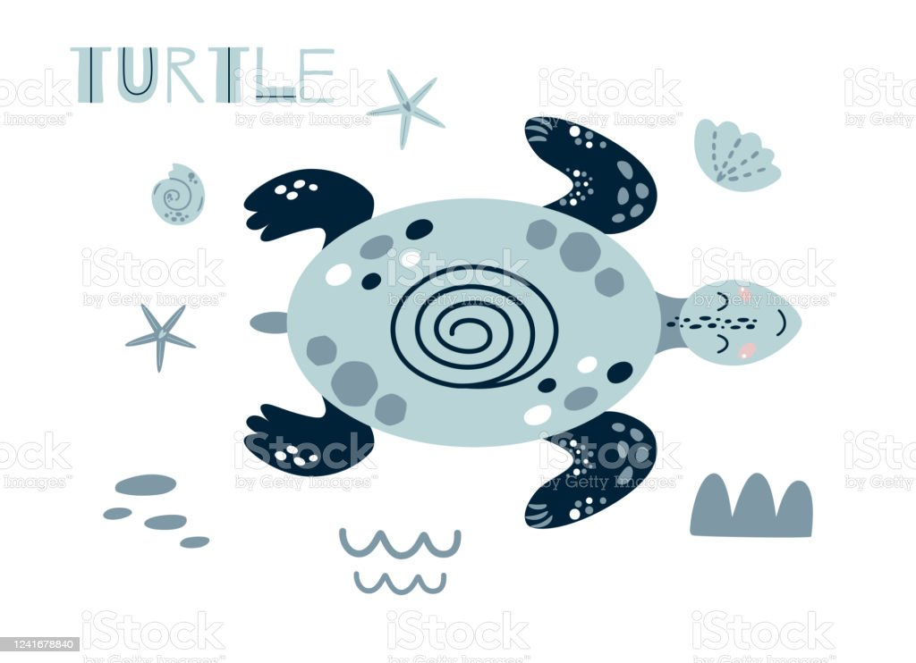Cute Turtle Cartoon Cute Baby Ocean Animal Girls Boys Summer Sea