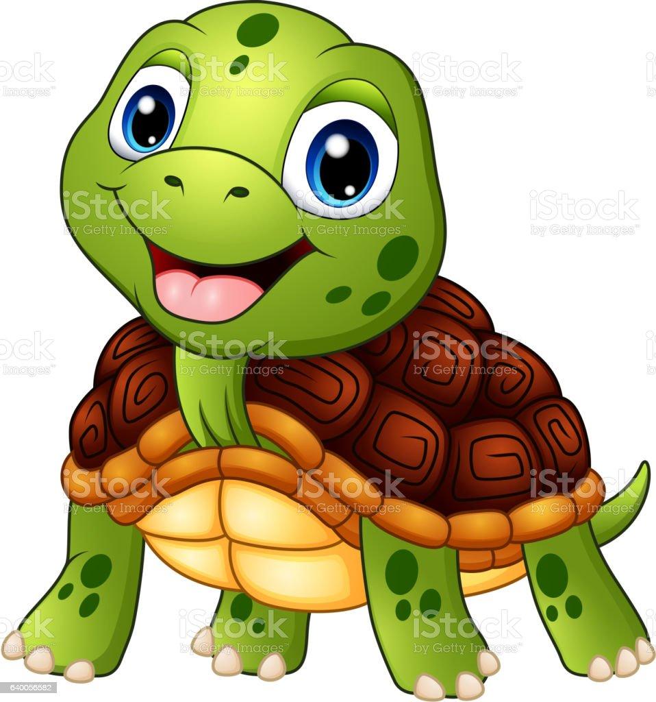 Cute turtle cartoon smiling vector art illustration