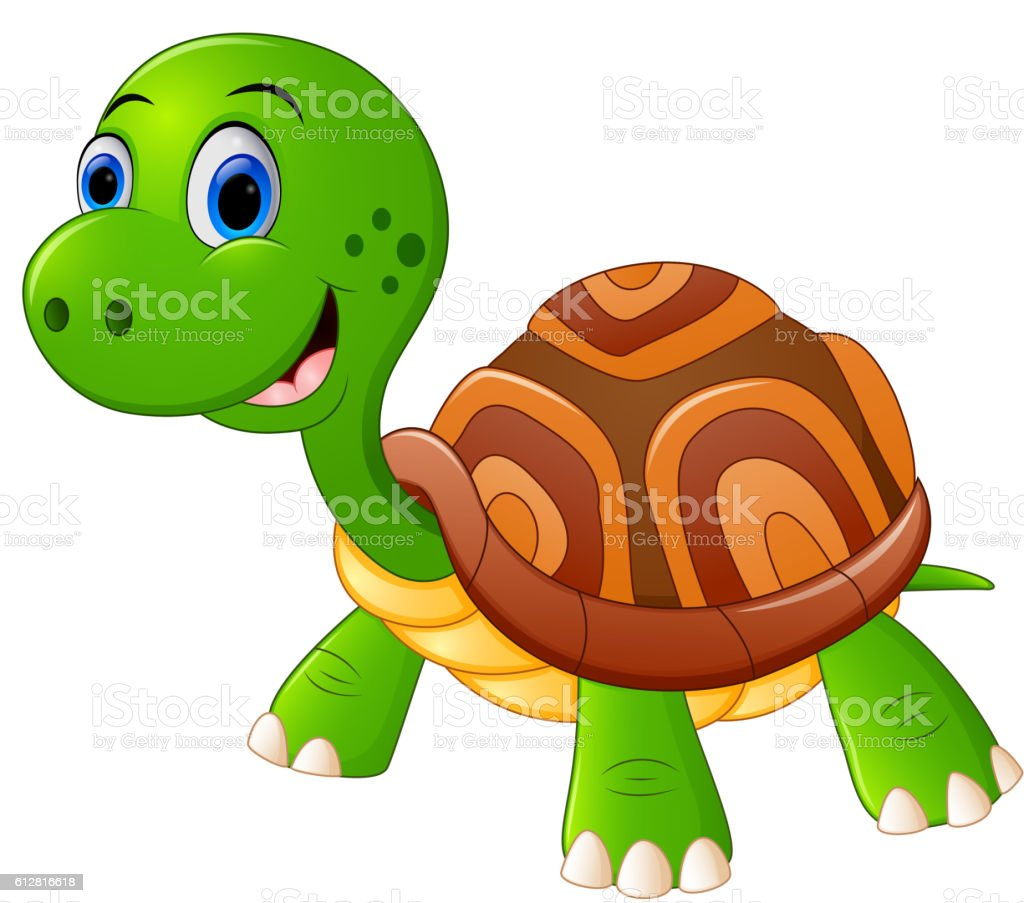 Cute turtle cartoon standing vector art illustration