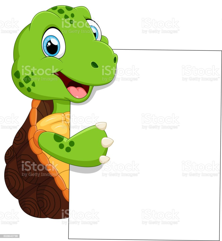 Süße Schildkröte Cartoon Mit Leere Schild Stock Vektor Art und mehr ...
