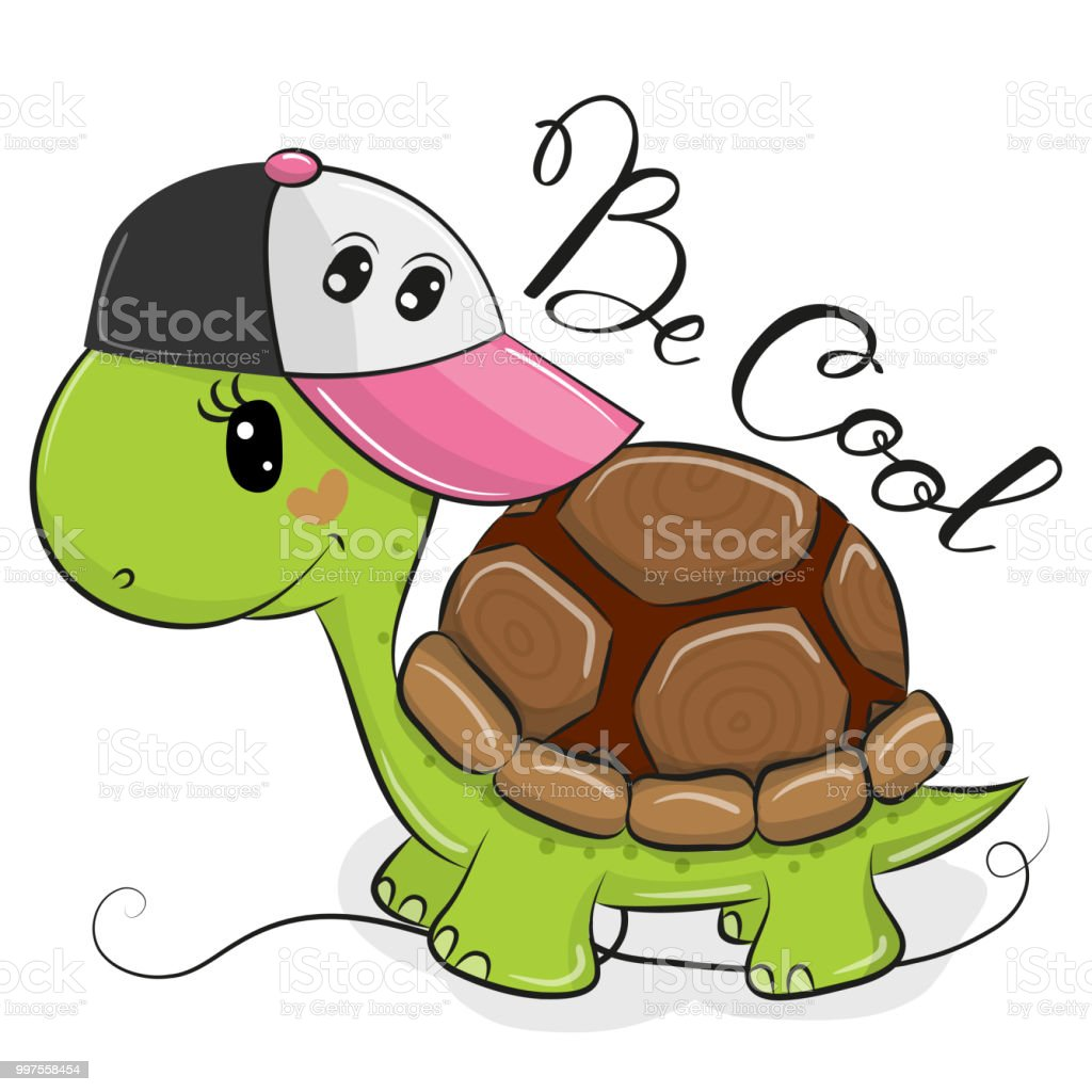 Cute Turtle with a pink cap vector art illustration