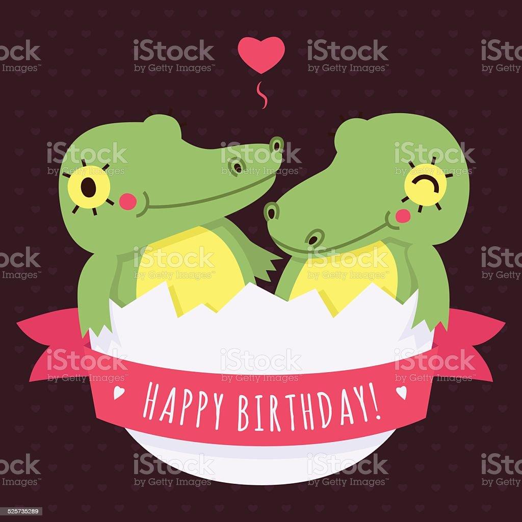 Adorable Bebe Jumeaux Crocodiles Dans Un œuf Vecteur Joyeux Anniversaire Carte Vecteurs Libres De Droits Et Plus D Images Vectorielles De Alligator Istock