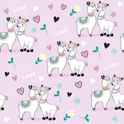 Cute two llamas, hearts and the inscription love on a pink background seamless pattern