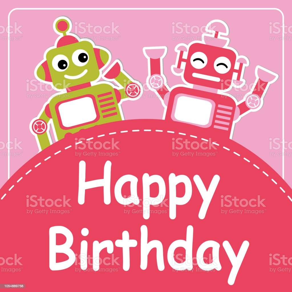 Cute Two Robots On Pink Background Suitable For Birthday