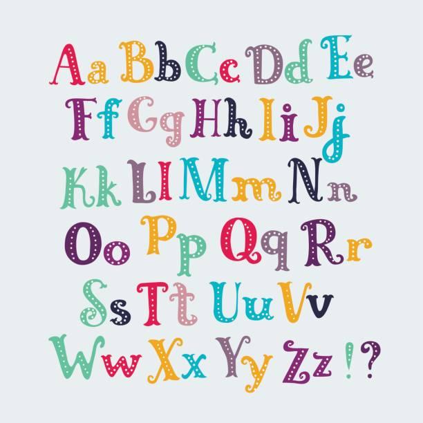 ilustrações, clipart, desenhos animados e ícones de tipografia bonita conjunto de cartas. caracteres maiusculos e minúsculos, - dia das crianças