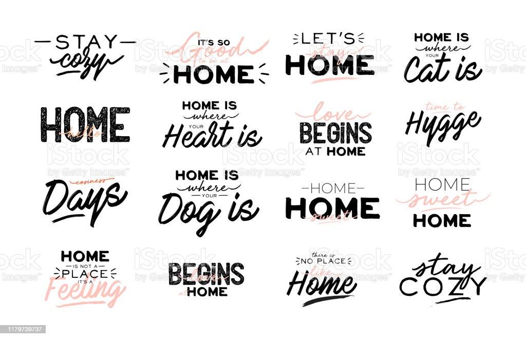 Nette Typografie Zitate mit zu Hause gemütliche Phrasen. Isoliert auf weißem Hintergrund. - Lizenzfrei Behaglich Vektorgrafik