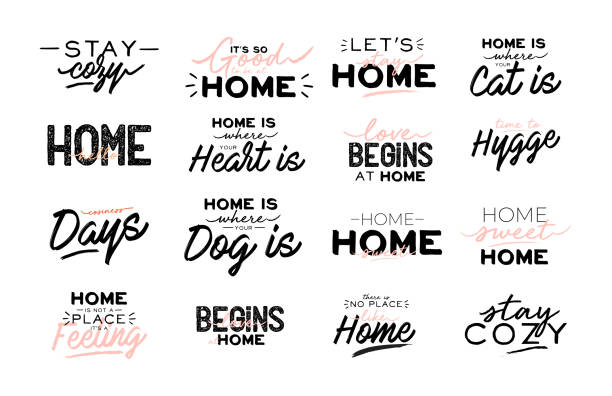 ilustrações de stock, clip art, desenhos animados e ícones de cute typography quotes with home cozy phrases. isolated on white background. - home sweet home
