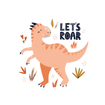 Cute tyrannosaurus dinosaur with let's roar lettering. HAnd drawn vector illustration for poster or baby shower design