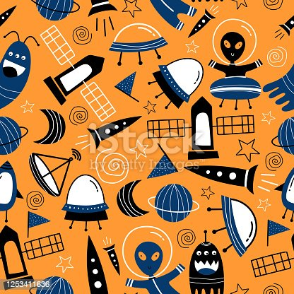 istock Cute ufo alien spaceships, planets, galaxies seamless pattern decorative drawing scandinavian artistic hand drawn for baby and kids fashion textile print, wallpaper, and background vector illustration 1253411636