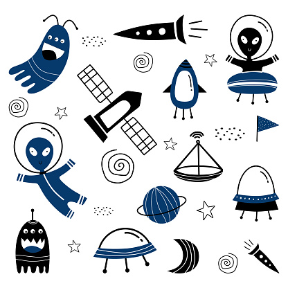 Cute ufo alien spaceships, planets, galaxies set collections. Vector element with childish drawing for baby and kids, illustration funny style. Isolated on white background.