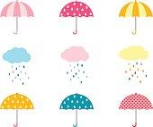 かわいい傘コレクションと雨と雲