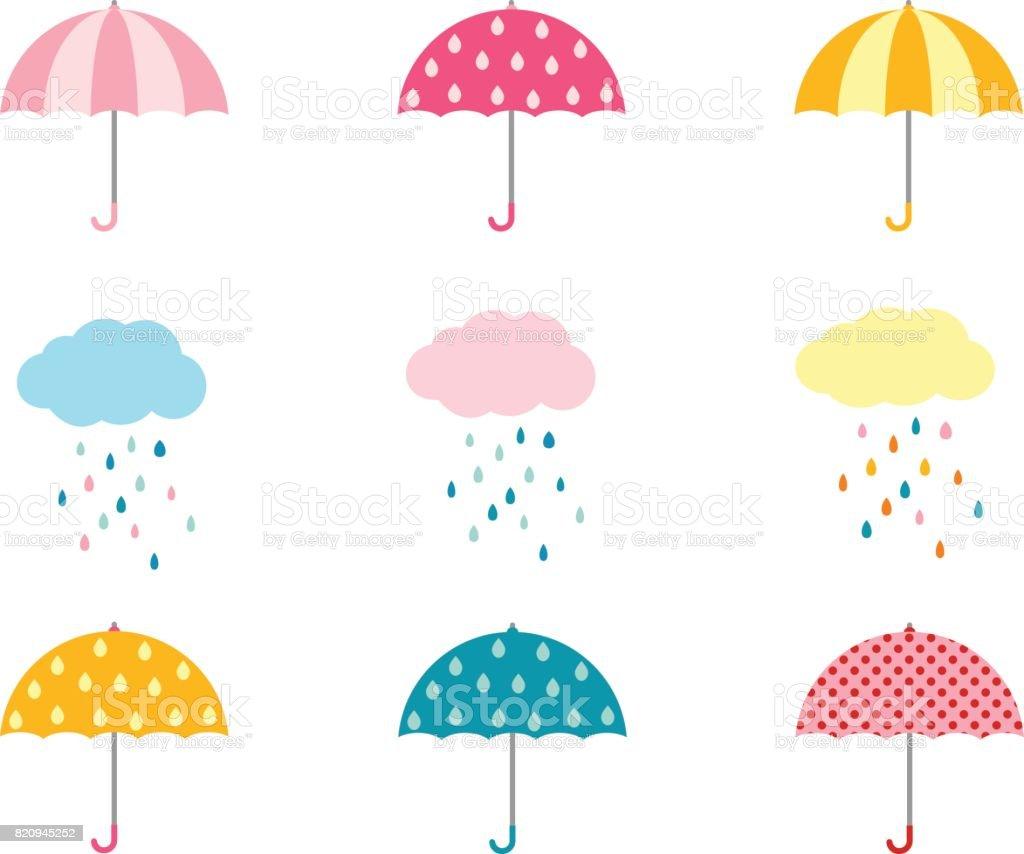 かわいい傘コレクションと雨と雲 ベクターアートイラスト