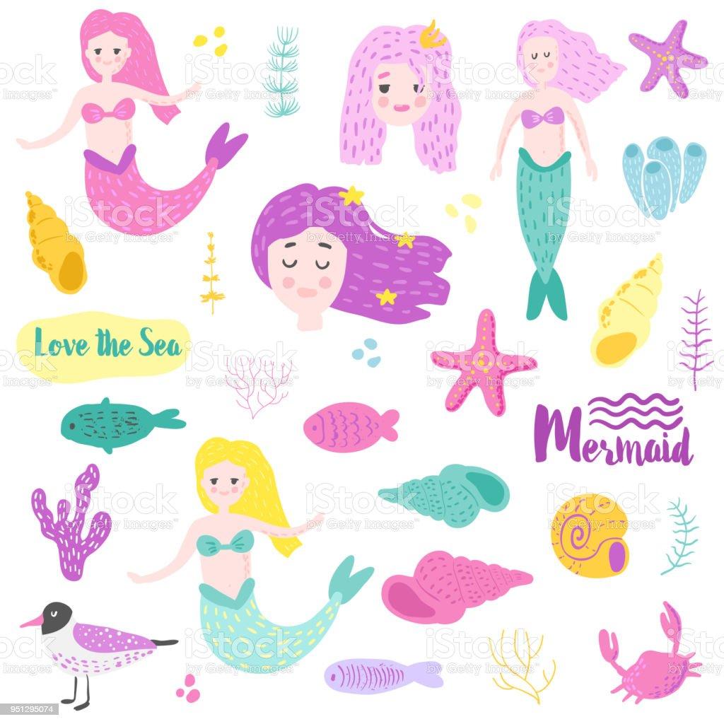 Niedliche Unterwasserwesen Elemente Mit Meerjungfrau Und Fisch