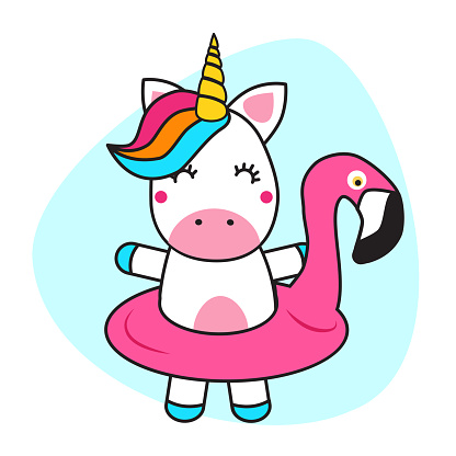 cute unicorn and flamingo float