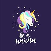Cute unicorn and inscription Unicorn. Good for , sticker, badge, print, baby unicorn birthday, invitation, greeting card, t-shirt design.