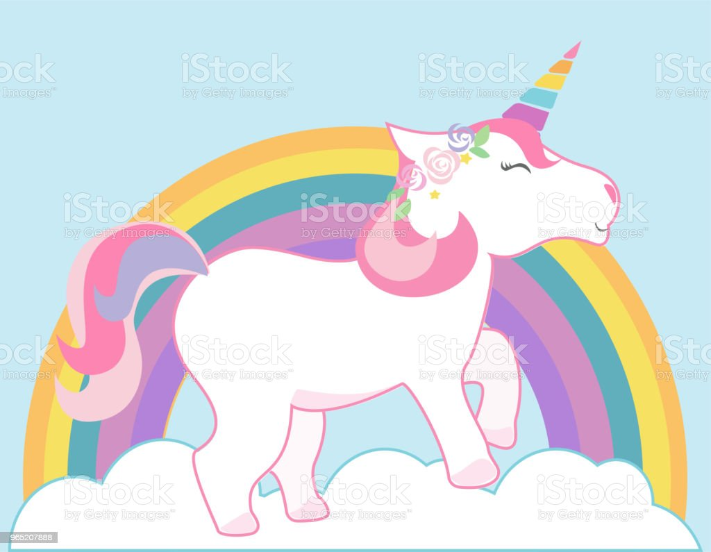 Cute unicorn and rainbow vector background. Happy colorful unicorn illustration. cute unicorn and rainbow vector background happy colorful unicorn illustration - stockowe grafiki wektorowe i więcej obrazów bez ludzi royalty-free