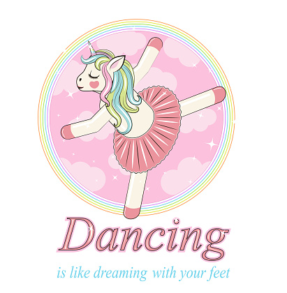 Cute Unicorn ballerina. Can be used for baby t-shirt print, fashion print design, kids wear