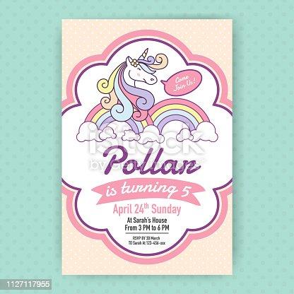 istock Cute unicorn birthday party invitation illustration design. 1127117955