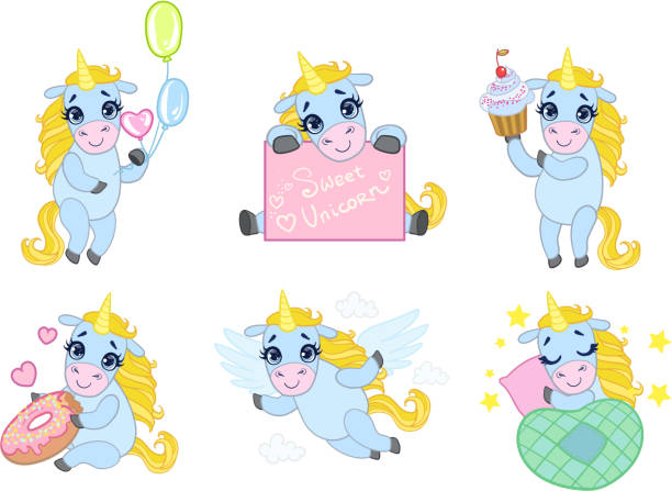 ilustrações de stock, clip art, desenhos animados e ícones de cute unicorn cartoon character set, lovely adorable animal in different situations vector illustration - unicorn bed