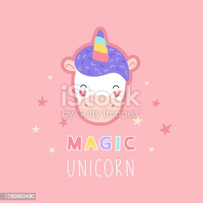 Cute unicorn, cartoon print for t-shirt, sticker, card. Vector isolated illustration on a pink background.