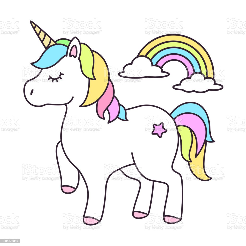 Cute unicorn cartoon vector vector art illustration
