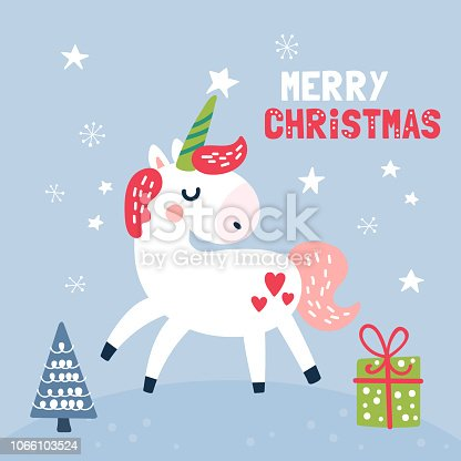 istock Cute unicorn character Christmas card. 1066103524