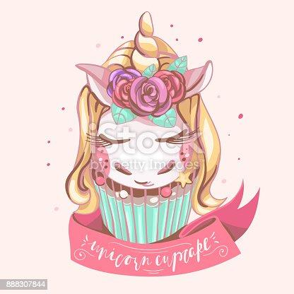 Cute unicorn cupcake. Beautiful, magic background with dreaming unicorn