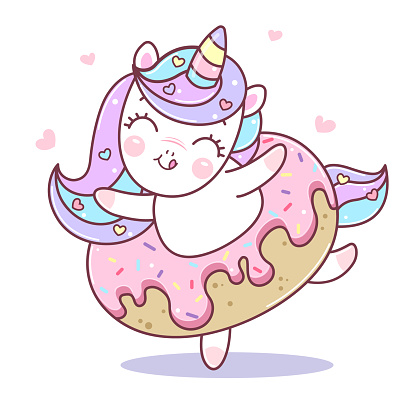 Cute unicorn dancing in donut. Illustration of little kawaii unicorn cartoon character in pastel flat colors. Easy flat style vector illustration. Patch, badge, pin or sticker.