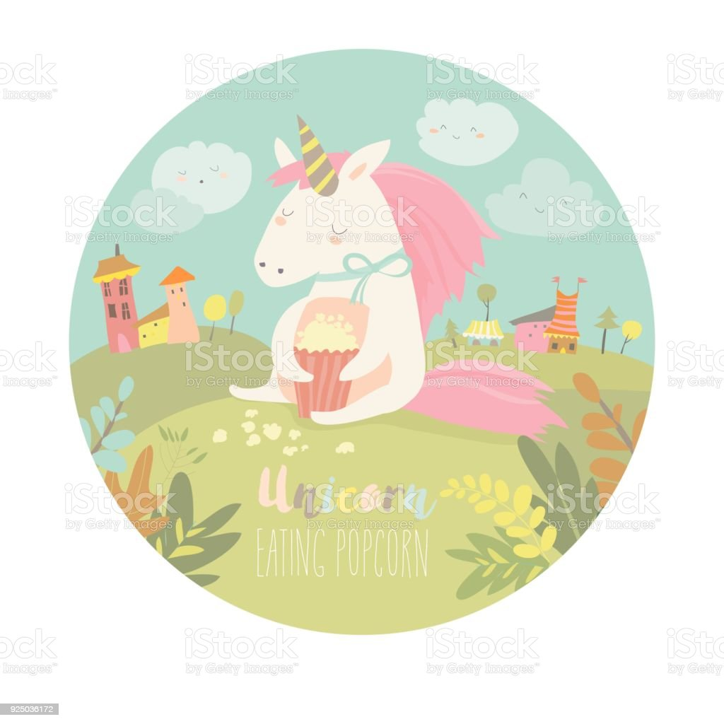 Cute Unicorn Eating Popcorn Stock Vector Art & More Images of Animal ...