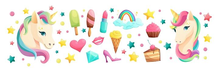 Cute unicorn face in flat style with sweet girlish elements. Ice cream, lipstick, cupcake, lips, heart, crystal, lollipop, rainbow. Cartoon vector illustration.
