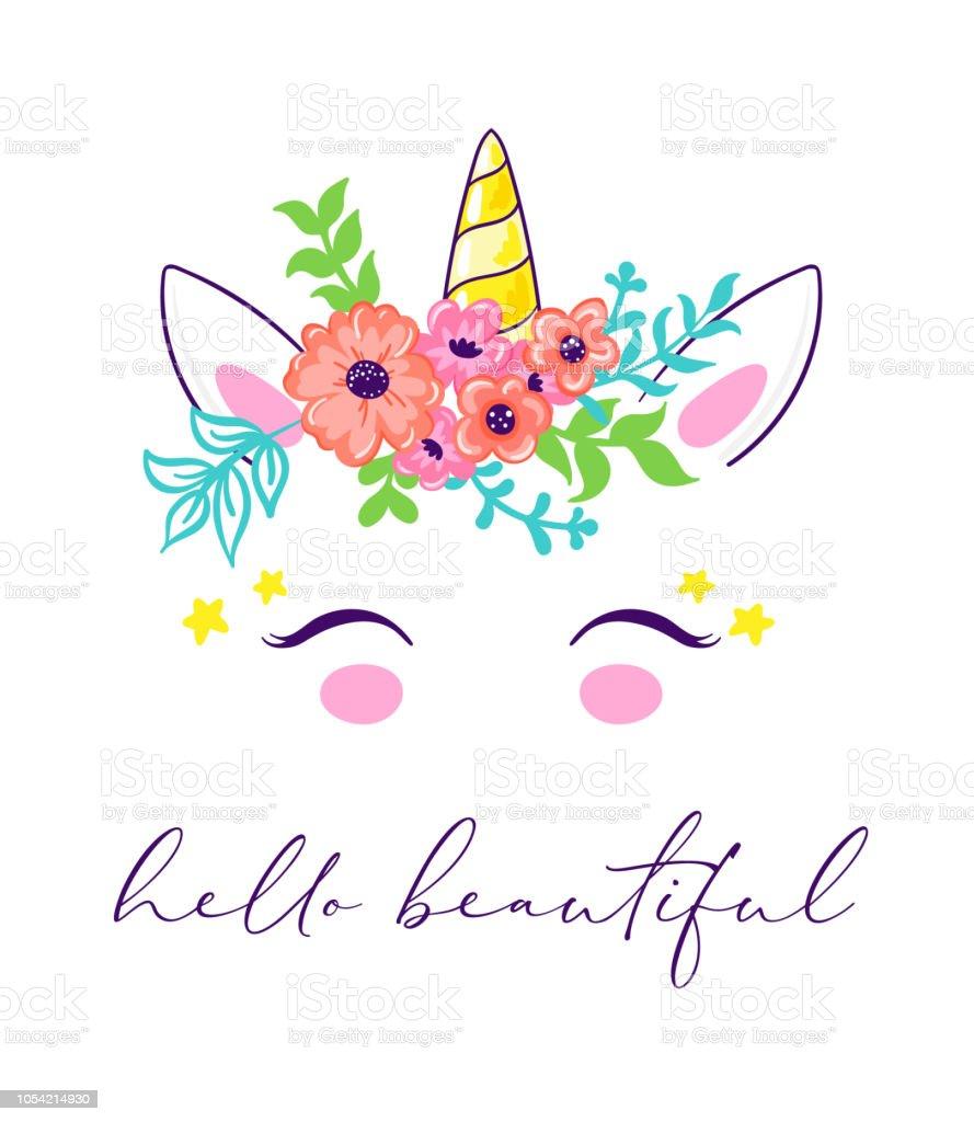 Cute Unicorn Face In Floral Wreath Immagini Vettoriali Stock E