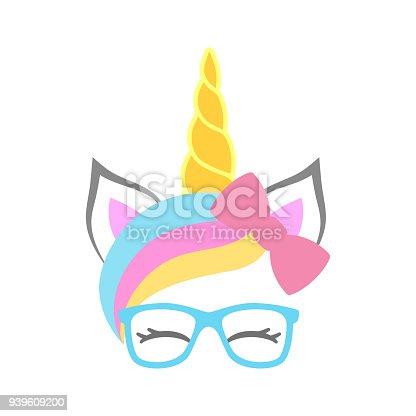 Cute Unicorn Face With Bow And Sunglasses Unicorn Head