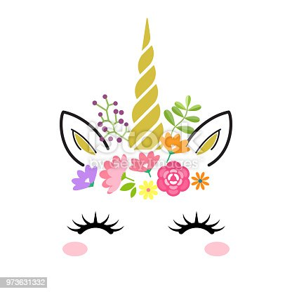 Cute unicorn face with gold horn and flowers isolated on white background. Vector cartoon character illustration. Design for child card,t-shirt.girls,kid.magic concept.