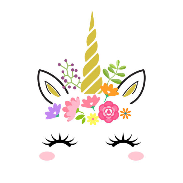 Cute unicorn face with gold horn and flowers isolated on white background. Vector cartoon character illustration. Design for child card,t-shirt.girls,kid.magic concept. Cute unicorn face with gold horn and flowers isolated on white background. Vector cartoon character illustration. Design for child card,t-shirt.girls,kid.magic concept. horned stock illustrations