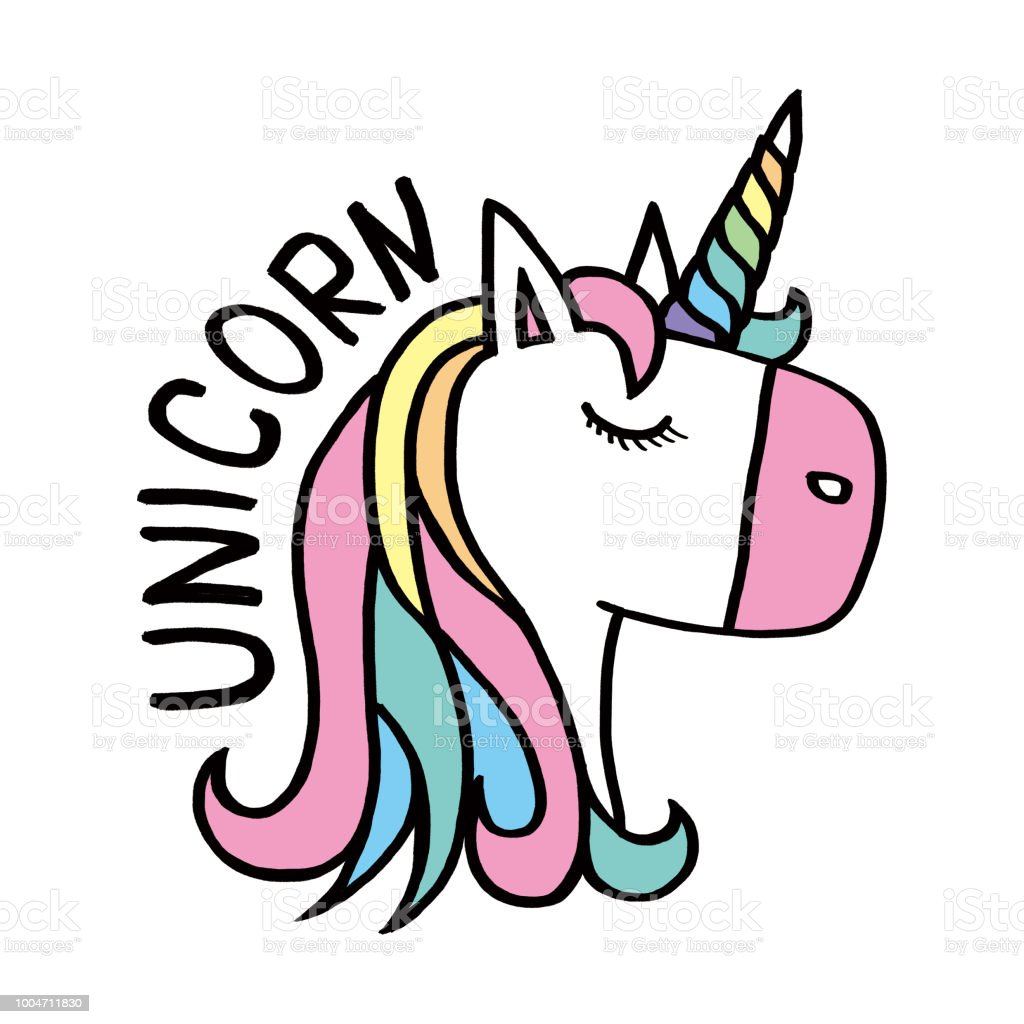 eac54342e Design for child card,t-shirt.Girls,kid.magic concept.Isolated on white  background.Cute unicorn horse with gold horn and beauty rainbow hair -  Illustration .
