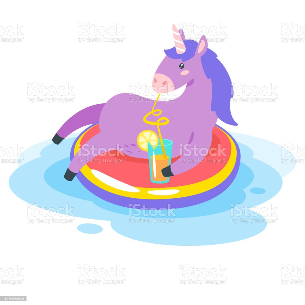 Cute unicorn. Fairytale animal vector art illustration