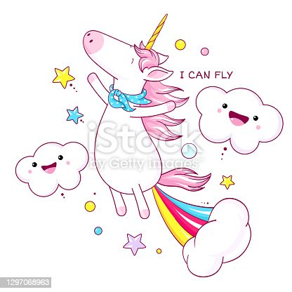 Cute unicorn farting with rainbow and smoke exploding out from his bottom