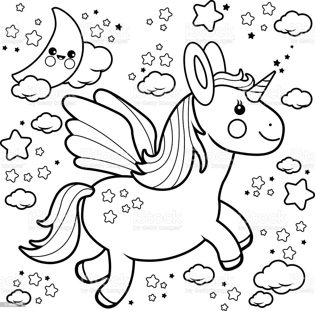 Cute Unicorn Flying In The Night Sky Coloring Book Page Royalty Free Stock Vector Art