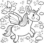Vector Illustration of a cute unicorn flying in the night sky with moon, stars and clouds. Coloring book page.