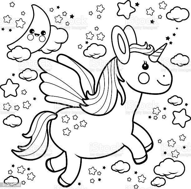 cute unicorn flying in the night sky coloring book page vector id