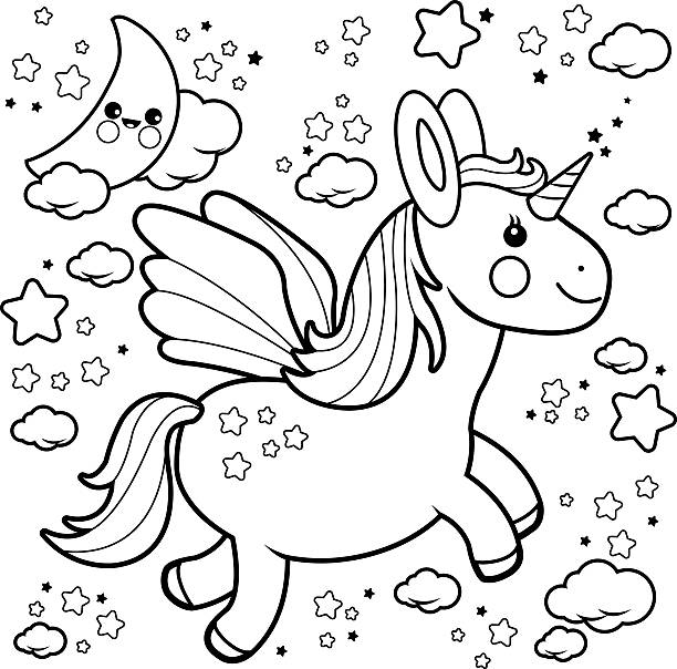 Cute Unicorn Flying In The Night Sky Coloring Book Page Vector Art Illustration