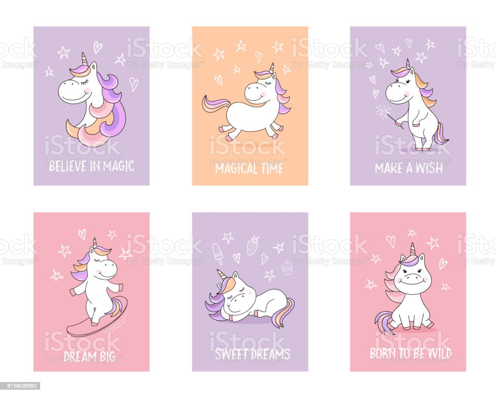 Cute unicorn greeting cards with quotes and magical symbols stock cute unicorn greeting cards with quotes and magical symbols royalty free cute unicorn greeting cards m4hsunfo