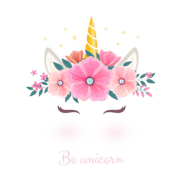 Cute unicorn head with flower crown. Cute unicorn head with flower crown. unicorns stock illustrations