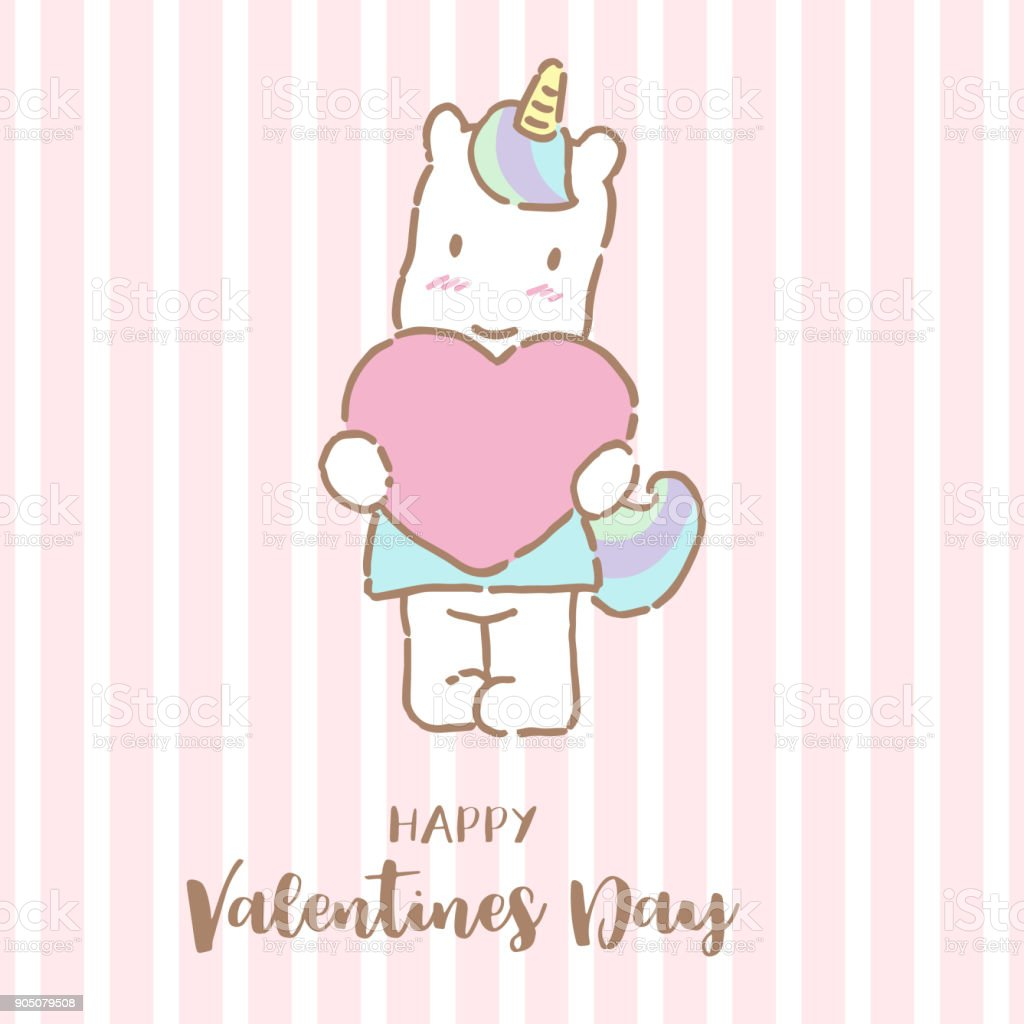 Cute Unicorn Holding Big Heart With Text Happy Valentines Day Vector
