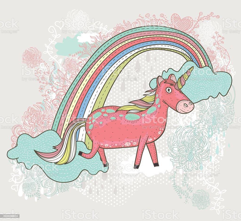 cute unicorn illustration for children or kids stock vector art