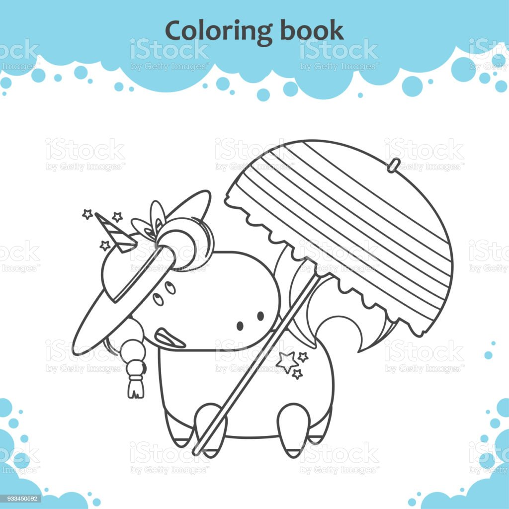 Cute Unicorn In Hat Under Parasol On A Beach Coloring Page For Kids Royalty