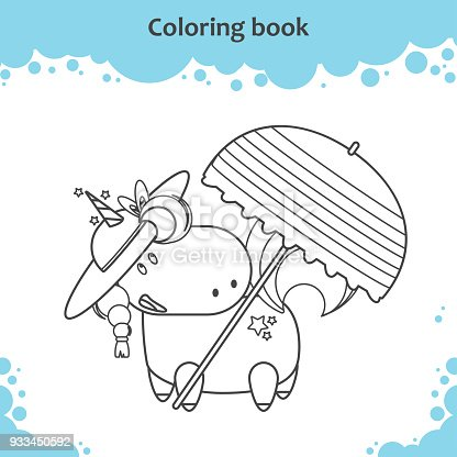 Cute Unicorn In Hat Under Parasol On A Beach Coloring Page For Kids Stock Vector Art More Images Of Adult 933450592