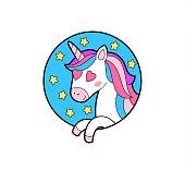 Fantasy unicorn sticker, patch badge. Sticker for Valentine's Day.