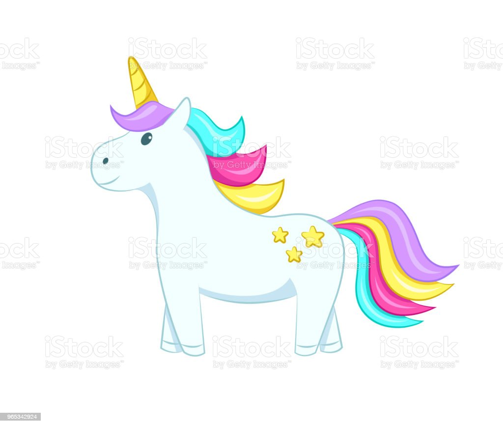 Cute unicorn. Isolated on white background. Vector illustration. cute unicorn isolated on white background vector illustration - stockowe grafiki wektorowe i więcej obrazów bajka royalty-free